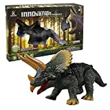 Amyove Dinosaur Model Remote Control Interactive Toy High Simulation Mini Dinosaur Model Children/Teenager Funny Prank Tools Best Gift for Kids Triceratops