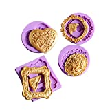 KALAIEN Set of 4 Heart Round Mirror Frames Silicone Cake Mold For Cupcake Cake Decorating Tools