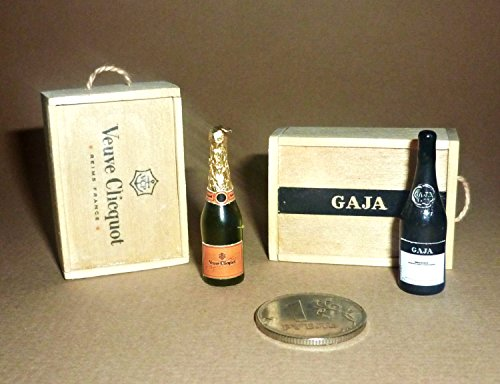 (Bottles of champagne in openable wooden boxes! Dollhouse miniature 1:12)
