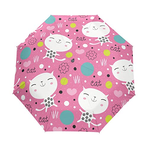 FANTAZIO Three fold Travel Umbrella Endearing Kitty auto Open Umbrella