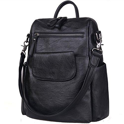 Jack&Chris Soft PU Leather Backpack Handbags for Women Satchel Shoulder Bag, WB202C (Large Soft Leather Satchel)
