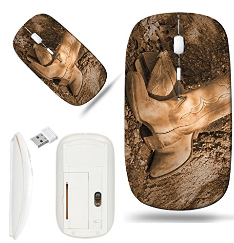 Boot Oak Tree - Luxlady Wireless Mouse White Base Travel 2.4G Wireless Mice with USB Receiver, 1000 DPI for notebook, pc, laptop, computer, mac design IMAGE ID 3701485 Old western boots leaning against oak tree