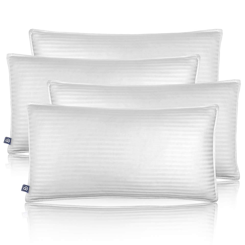 Bare Home Luxury Plush Down Alternative Pillows - Fiber Fill - Hypoallergenic – Striped & Soft 100% Cotton Cover - King, 20 x 36 – 2-Pack 662187932613-03