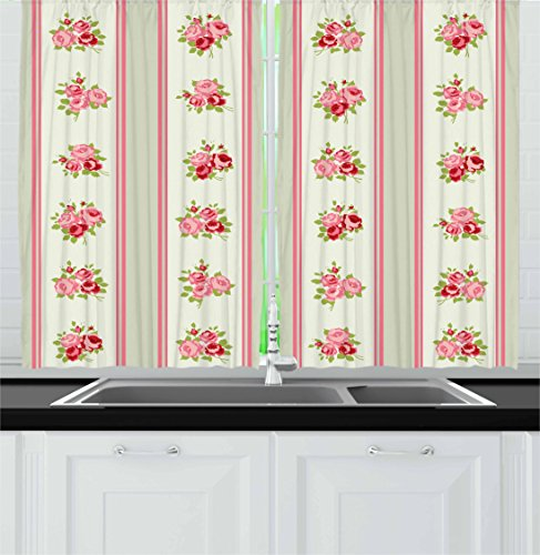 Rose Realistic Border (Lunarable Shabby Chic Kitchen Curtains, Country Pattern with Vertical Borders and Corsages of English Roses, Window Drapes 2 Panel Set for Kitchen Cafe, 55 W X 39 L Inches, Pale Green Pink Cream)
