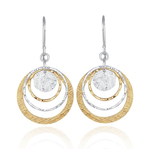 Stera Jewelry Two Tone Circle and Disc Earring 925 Sterling Silver & 14k Gold Filled Dangle Earrings
