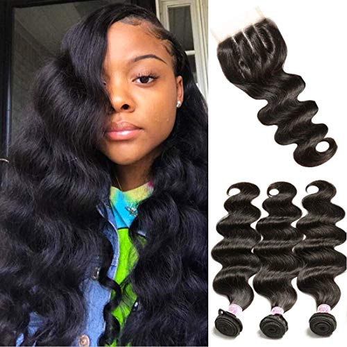 Beauty Forever Hair Brazilian Weave Virgin Hair Body Wave 3 Bundles with 1 Piece 44 3part Lace Closure 100% Unprocessed Human Hair Extensions Natural Color (16 18 20+14closure)