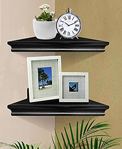 SHELVING SOLUTION Corner Wall Shelf, Set of 2 (Black) by SHELVING SOLUTION