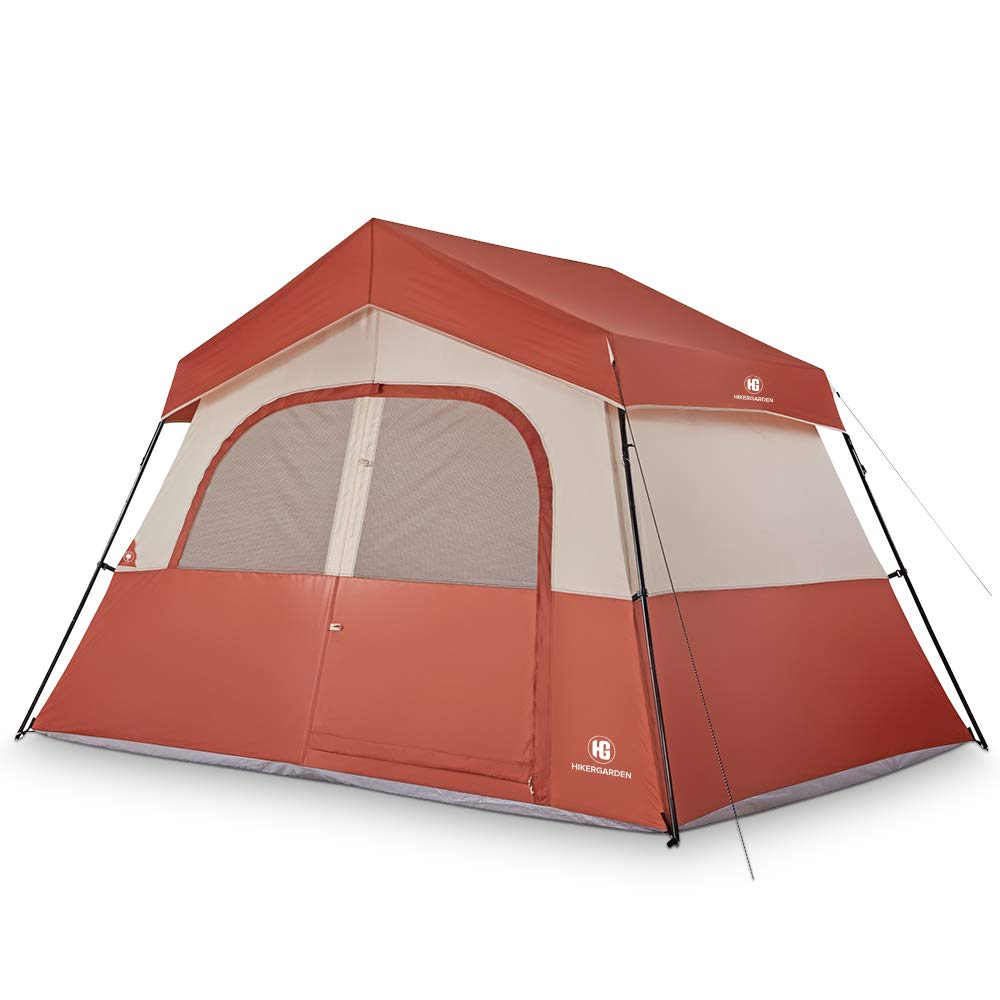 TOMOUNT 5 Person Tent - Easy & Quick Setup Camping Tent, Professional Waterproof & Windproof Fabric, 3 Large Mesh for Ventilation, Double Layer, Anti-UV, Lightweight & Portable with Carry Bag, Red by TOMOUNT