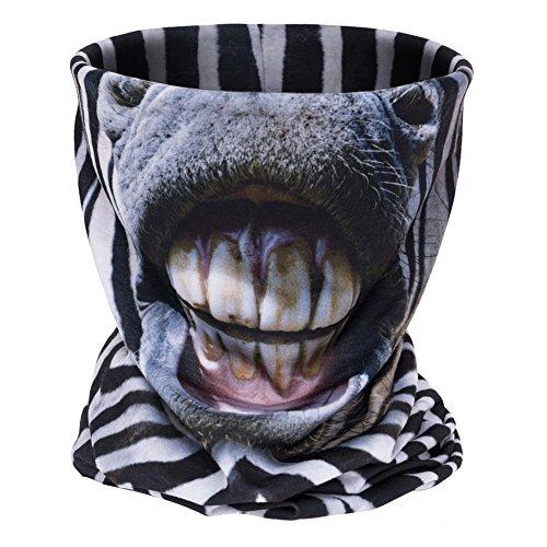 [Aiyuda Neck Tube Motorcycle 3D All Over Print Bandana Neck Gaiter Thin Ski Mask Multifunctional Headwear Ear Warmer Headband Headwrap (Zebra] (Ski Costumes)