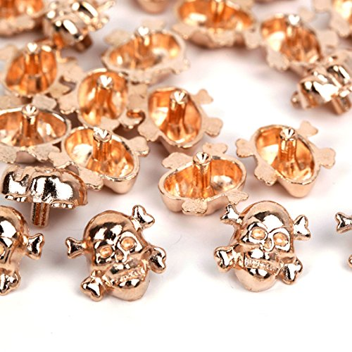 RUBYCA 100 Sets Gold Color Skull Cross-Bone Rapid Rivets Spike and Studs Metal Spots Double Cap DIY Leather-craft