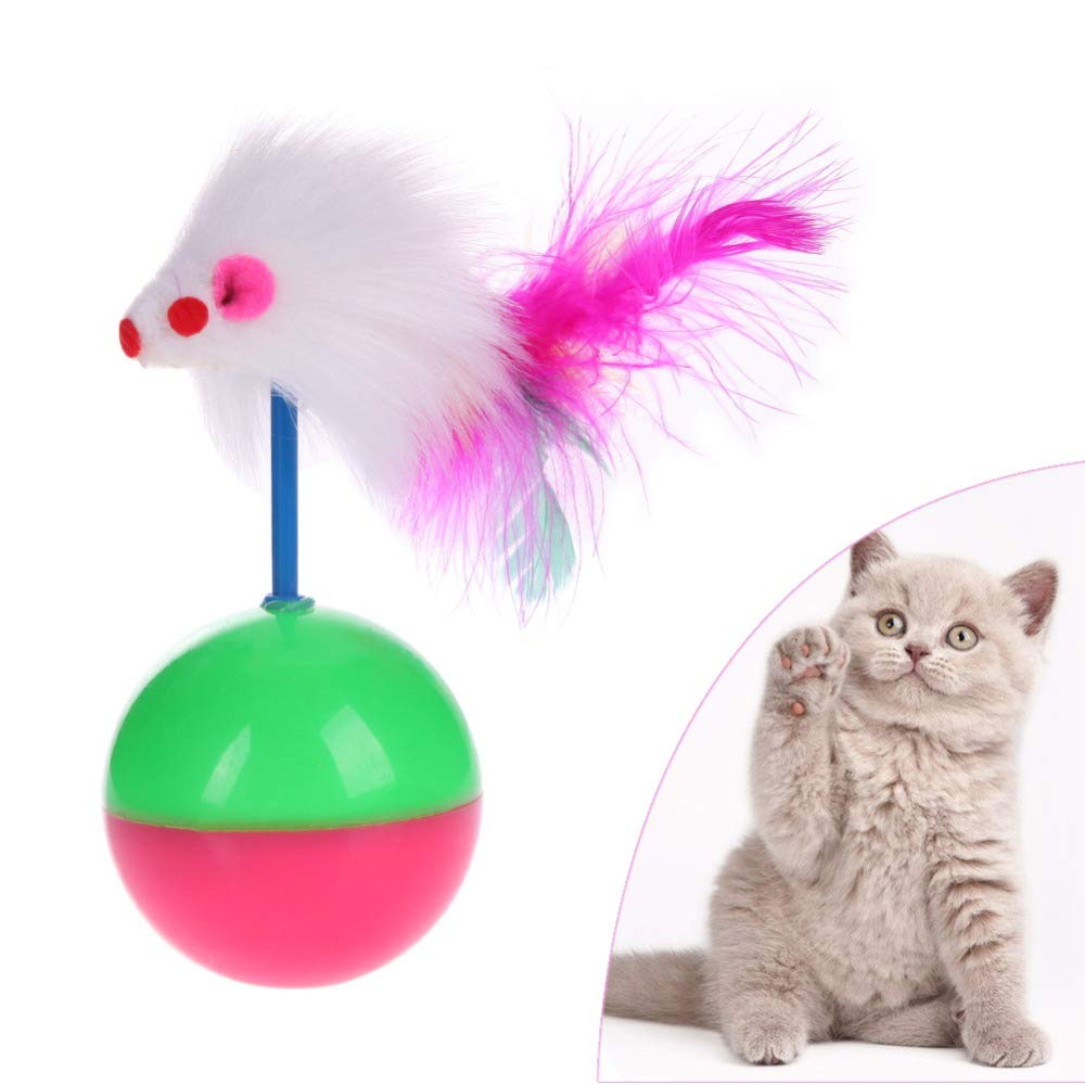 Westsell Long Feather False Mouse Mice Animal Toys for Cat Kitten Tumbler Ball Rustle Activity Toy for Cat Products Pet Supplies