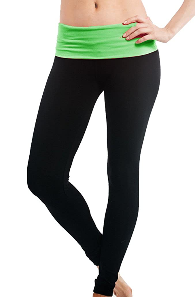 8ab04a3f6ce862 Stretch Fit Fold Over Waist Yoga Pants Bright Contrast Waist Yoga Leggings  Junior Size 92% Cotton 8% Spandex Model is 5'6