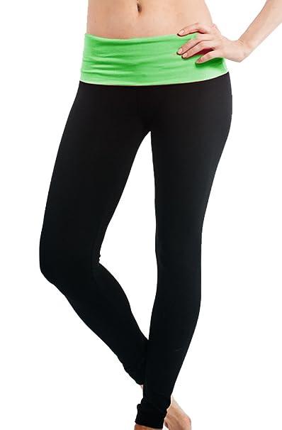 db6590fdfb Popular Basics Women's Athletic Yoga Leggings with Fold Over Waist (Small,  Black Neon Green