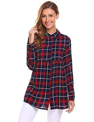 SummerRio Casual Women Long Sleeve Boyfriend Flare Button Plaid Shirt Tunic Top