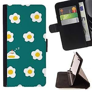 Dragon Case- Mappen-Kasten-Prima caja de la PU billetera de cuero con ranuras para tarjetas, efectivo Compartimiento desmontable y correa para la mu?eca FOR Sony Xperia Z1 C6902 C6903 C6906- Egg Pattern Cartoon