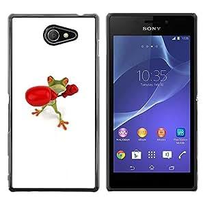 Be Good Phone Accessory // Dura Cáscara cubierta Protectora Caso Carcasa Funda de Protección para Sony Xperia M2 // Champion White Frog Gloves Fight