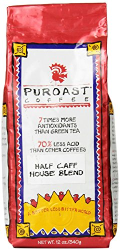 Coffee Beans Half Caff (Puroast Low Acid Coffee Half Caff House Blend Whole Bean, 0.75 Pound Bag)