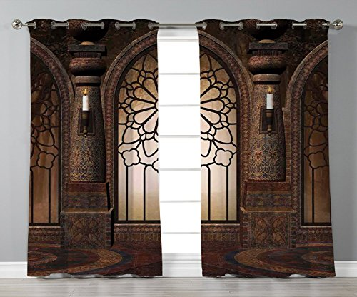 Islamic Antique (Thermal Insulated Blackout Grommet Window Curtains,Gothic,Antique Myst Gate with Oriental Islamic Pattern and Curvings Artistic Design Illustration,Brown,2 Panel Set Window Drapes,for Living Room Bedr)