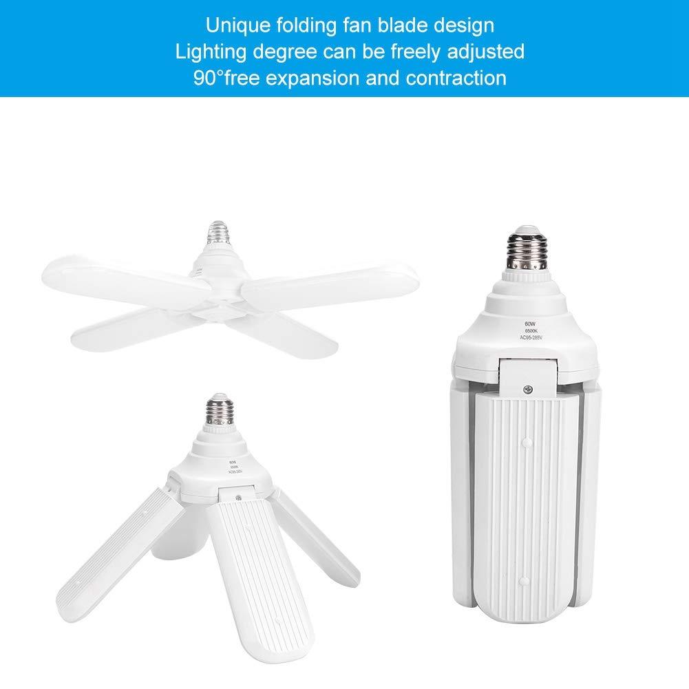 Bicaquu 60W E27 AC95-265V Lampe /à pales de Ventilateur Pliante /à Quatre Lames Super Brillante LED