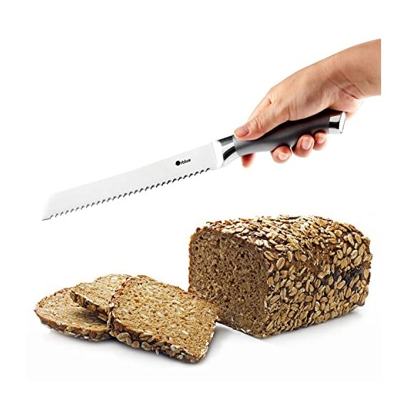 Orblue Serrated Bread Knife, Ultra-Sharp Stainless Steel Bread Cutter (8-Inch Blade with 5-Inch Handle) 2 Orblue Bread Knife blade has an ultra-sharp serrated edge that grips & quickly cuts without tearing Bread slicer blade is 8 in. long, allowing you to slice through thick loaves quickly & effortlessly Stainless steel knife blade is only 2.2 & 0.1 mm thick, creating less friction & more uniform slice