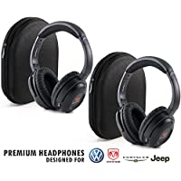 Car Headsets with Travel Cases (Pack of 2) Part # 05091149AA & Part # 05064073AE Headphones by Drive Audio for Chrysler, Dodge, Ram, Jeep and Volkswagen