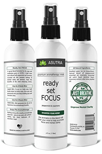 "ASUTRA Premium Aromatherapy Mist -""READY, SET, FOCUS"" - Improve Mental Clarity - 100% ALL NATURAL & ORGANIC Room & Body Mist, Essential Oil Blend - Peppermint & Rosemary - 100% GUARANTEED"