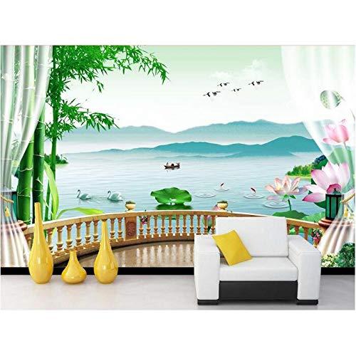 - GMYANBZ 3D Wallpaper Custom Mural Non-Woven 3D Room Wallpaper Bamboo Gauze Lotus Lake Background Wall Photo Wallpaper for Walls