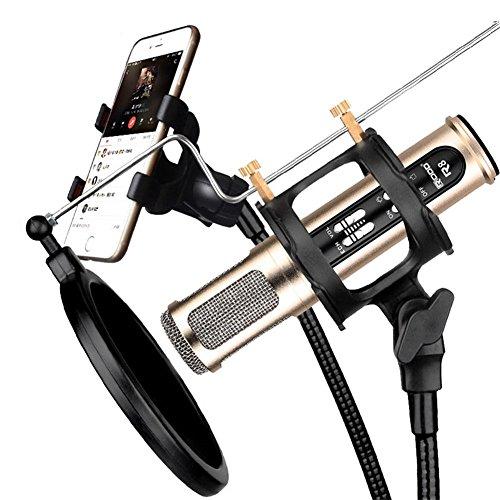 Portátil de montaje de choque de micrófono y montaje al aire libre fiesta al aire libre acompañamiento de doble teléfono...