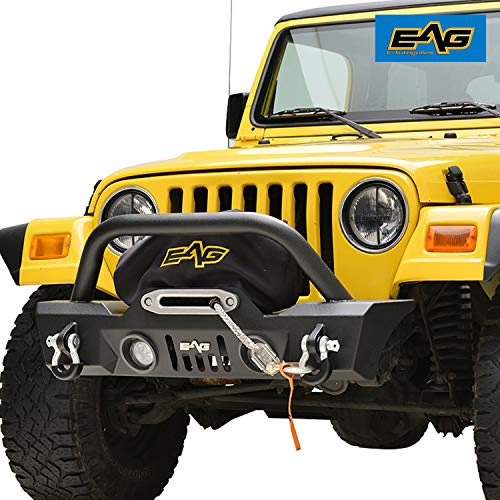 EAG Front Bumper with LED Lights and Light Surrounds Stubby Fit for 87-06 Jeep Wrangler TJ/YJ