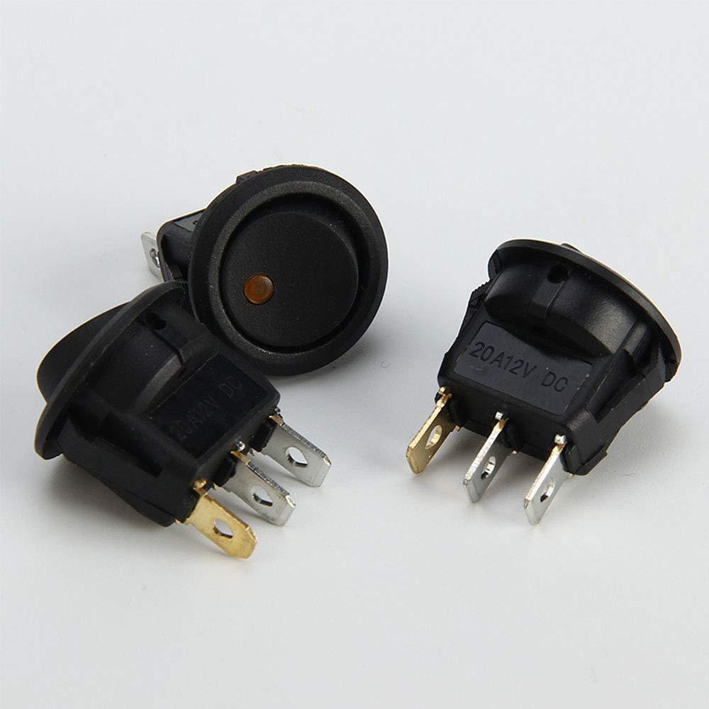 Aofocy Voiture Bateau Camion Remorque Auto Illumin/é Bouton Interrupteur /À Bascule Rond 3 Pin Mini avec Indicateur LED 12 V Noir 4 Pcs