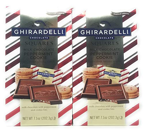 Ghirardelli Chocolate Squares Milk Chocolate Peppermint Cookie 2 x 7.1oz Bags ()