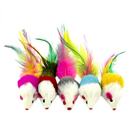Topbeu 5PCS Cute Pet Cat Kitten Catching Toys Faux Furry Mouse with Feather Tail Toys