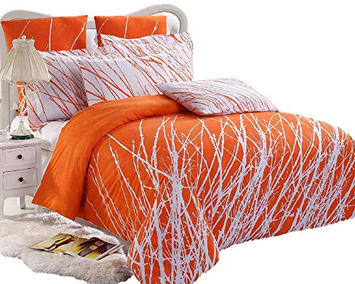 Swanson Beddings Tree Branches 5-Piece 100% Cotton Bedding Set: Duvet Cover, Two Pillow Shams Two Euro Shams (Orange-White, King)