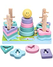 Wooden Montessori Toys for Toddlers, Sorting & Stacking Wooden Toys, Shape Color Recognition Wooden Blocks - Preschool Montessori Learning Toys for Toddlers Girls Boys
