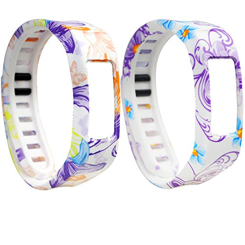 SKYLET Replacement Bands for Garmin Vivofit 2 (No Tracker)(Violet Flowers, Small)