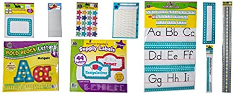 Marquee Alphabet classroom bulletin board set, Name Tags/Labels, Ready Letters, Stickers, Supply Labels, Incentive Chart, Name Plate, Border, Magnetic Strips, Poster Mounts Teacher Created Resources