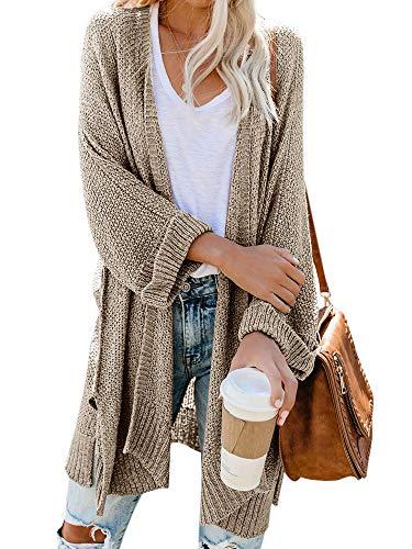 - Msikiver Womens Loose Kimono Cardigan Sweaters Open Front Long Sleeve Boho Knit Shawl Drape Coats Khaki
