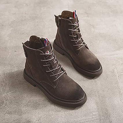 Shukun Botines Zapatos de Mujer PU, Botas de Martin Planas con Botas exfoliantes, Espesar