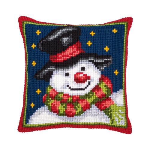 Chunky Cross Stitch - Vervaco Christmas Snowman chunky cross stitch cushion front kit