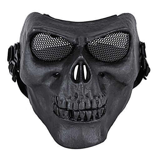 Army Man Costume Face Paint (Coxeer M01 Army Skull Skeleton Airsoft Paintball Bb Gun Game Face Mask (Black 2))
