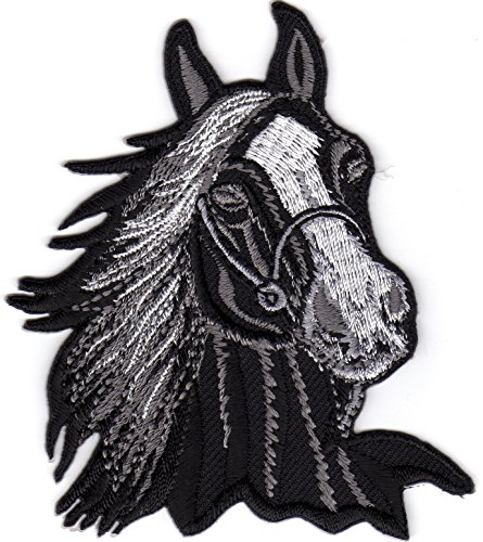 Iron on Patch Embroidered Patches Application Horse Head Riding Sport Farm Cowboy Different Colors (Black)