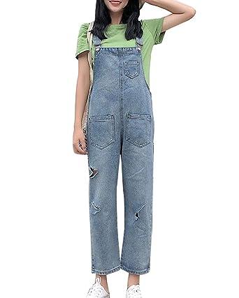 de69698185c Women Retro Jeans Dungarees Overall Baggy Holes Denim Trousers Pants Loose  Fit Blue XL  Amazon.co.uk  Clothing