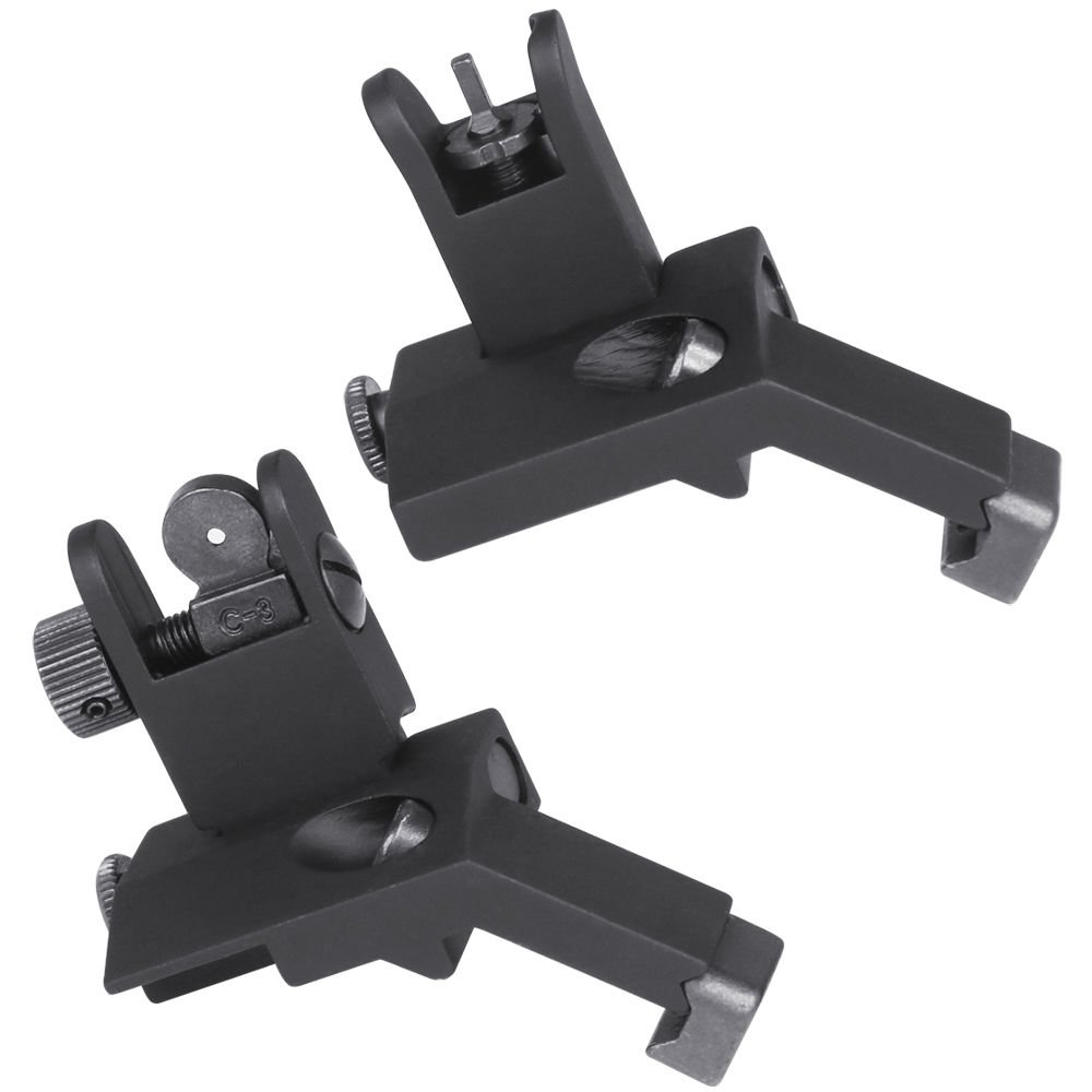 Green Blob Outdoors (Flip Up 45 Degree) AR Front and Rear Offset Rapid Transition Backup Iron Sights