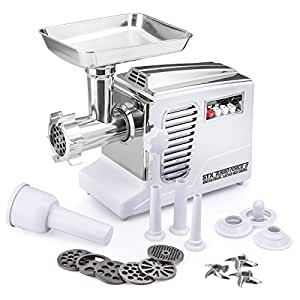 STX Turboforce II - Quad Air Cooling - Electric Meat Grinder & Sausage Stuffer - Foot Pedal Control, 6 Grinding Plates, 3 Cutting Blades, Kubbe & Sausage Stuffing Tubes (White)