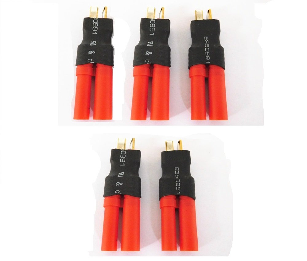 WST No Wires Connector T-Plug Deans Male To HXT 4mm Bullet Banana Plug Connector Conversion Adapter for RC LiPo NiHM Battery x 5 PCS