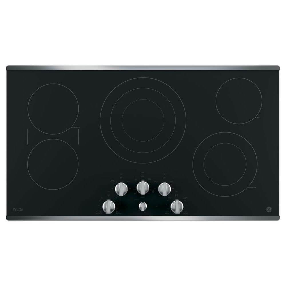 GE PP7036SJSS 36 Inch Smoothtop Electric Cooktop with 5 Radiant Elements, Sync, Versatile Burners, Keep Warm Setting, Control Lock Capability, Red LED Backlit Knobs, ADA Compliant Fits Guarantee