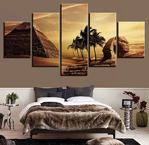 LLHLLH Canvas Picture Home Wall Art Deco Living Room Frame 5 Pieces Egyptian Pyramid Painting Sunset Desert Poster