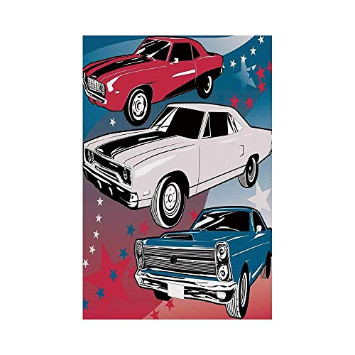 Polyester Garden Flag Outdoor Flag House Flag Banner,Cars,Pop Art Stylized Group of Nostalgic American Muscle Cars with Stars Antique Print,Red Beige Blue,for Wedding Anniversary Home Outdoor Garden D