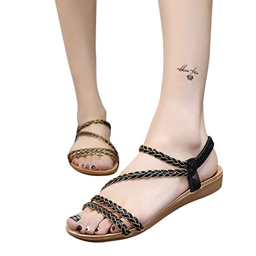0cb21f30f4a0 Women Summer Bohemia Elastic Strappy String Sandals Roman Ankle Strap  Flip-Flop Thong Shoes (
