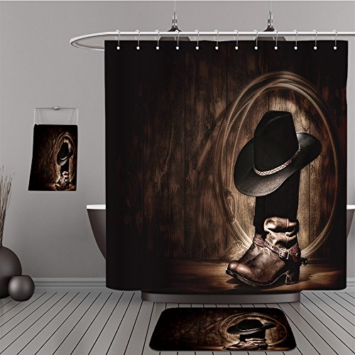 Uhoo Bathroom Suits & Shower Curtains Floor Mats And Bath Towels 127559402 American West rodeo cowboy traditional black felt hat resting atop worn leather working rancher roper boots and lasso (Aztec Mens Roper)